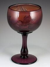 Vintage Fenton Carnival Art Glass Amethyst Iris Buttermilk Goblet