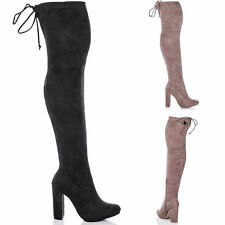 Lace Up Block Unbranded Over Knee Women's Boots
