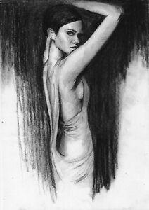 original drawing А4 22PY samovar Charcoal female nude Signed 2020