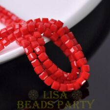 100pcs 4mm Cube Square Faceted Crystal Glass Loose Spacer Beads Opaque Red