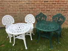 Green or White Resin 70cm Round Garden Bistro Set Patio Dining
