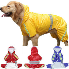 Puppy Pet Reflective Raincoat Hooded Jacket Dogs Clothes Coat Waterproof Large