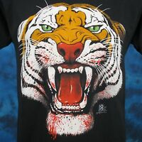 vintage 80s BLOODY TIGER FACE PAPER THIN T-Shirt SMALL wild cat animal biker