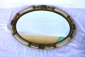 Antique Ornate Carved Wood Brass Oval Wall Mirror