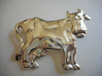 Vintage Mexico Taxco Sterling Silver 925 Cow Brooch  520T