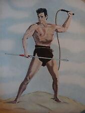 GRAND DESSIN CRAYON PORTRAIT HOMME BEN HUR ACTEUR CINEMA MAN ACTOR 1960 gay int
