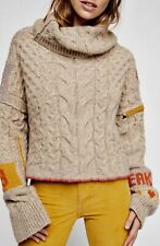 New $598 Free People TALK ABOUT IT Sz Sm Alpaca Cropped Cable Knit Oatmeal Grey