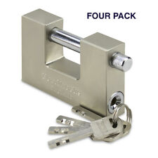 HEAVY DUTY STEEL CONTAINER/SHUTTER PADLOCK 90MM WTH 4 KEYS (4 PACK)