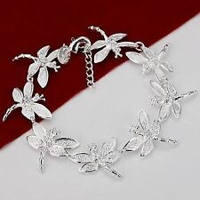 -UK- Silver Plated Dragonfly Detail Bracelet Bangle Women Fashion - Gift