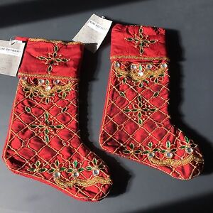 x2 Kim Seybert RED Beaded Christmas Stocking Set Jewels Gold Green Santa Sock