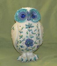 Vintage Dedham Pottery Owl Flowered Figurine Chelsea? Crackle Glaze BEST OFFER