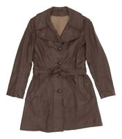 Vintage Leather Jacket S Small Womens Brown Long Trench Coat Spy Jacket Overcoat