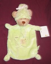 DOUDOU NICOTOY OURS PLAT VERT LUNE ETOILES OURS BRODE BONNET LUTIN NEUF