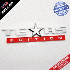 Chrome & Red TEXAS Edition Logo Emblem Badge Stickers Chevrolet Decoration TEAS