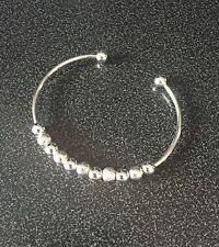 Bangle Ladies Girls Bracelet Silver Costume Jewellery Beads Torque UK