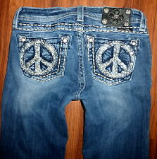 GIRLS MISS ME SKINNY STRETCH FLAP POCKET JEWELED PEACE SIGN JEANS SIZE 16 X 31""