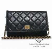CHANEL WOC BLACK CALF LEATHER REISSUE QUILTED WALLET ON CHAIN BLACK MINI BAG GHW