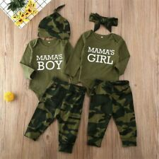 Newborn Baby Boy Girls Romper Bodysuit Camouflage Pants Headband Outfits Clothes