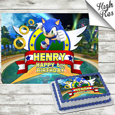 SONIC THE HEDGEHOG RECTANGLE EDIBLE CAKE TOPPER DECORATION PERSONALISED