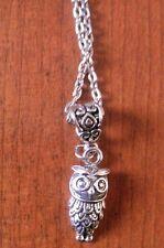 collier argenté 46 cm avec pendentif chouette 24x10mm