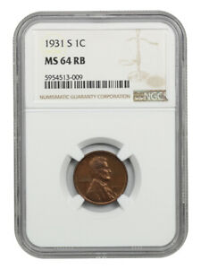 1931-S 1c NGC MS64 RB - Scarce Date - Lincoln Cent - Scarce Date