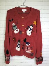 Croft & Barrow Winter Christmas Snowman Red Knit Cardigan Sweater Womens Large