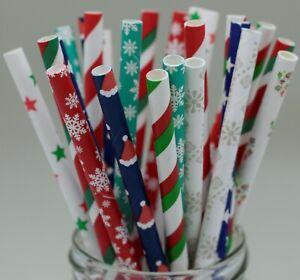 Christmas party paper straws snowflake red green santa XMAS UK quantity 25
