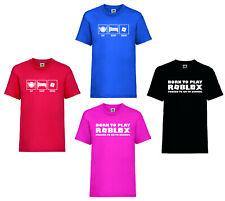 "Boys/Girls Slogan T-Shirt ""Eat Sleep Roblox""""Born To Play Roblox"" 4 Cols 5-15yrs"