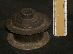 Antique Traditional Indian Ethnic Bronze ' Ink pot' Very Rare Collectible #6