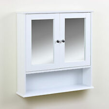 Classic Bathroom Cabinet Twin Door Mirrored Cupboard Wall Mounted Storage Toilet