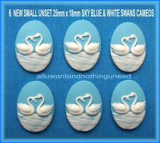 6 WHITE Sweet heart SWANS on BABY BLUE 25mm x 18mm Costume Jewelry Crafts CAMEOS
