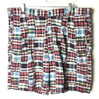 Jos A Bank Mens Shorts Size 40 Red/Blue Plaid Patchwork Pleated Front