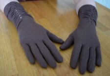 Vintage Ladies Gloves Empire Made size Small Petite Brown Nylon Longer length