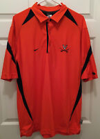 Virginia UVA Cavaliers Football Team Issued Nike Orange Blue Polo Shirt Medium