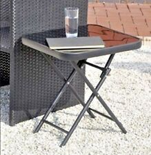 Small Folding Garden Table Side Patio Outdoor Coffee Tea Drinks Glass Furniture