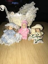 Lot of 3 Cameo Kids Collection Porcelain Dolls With Carriage ~ 2.5 Inch