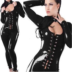 Black PVC bodysuit Spandex Collar 2 catsuit clubwear wet look, Size M