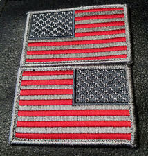 US Tactical USA Flag Subdued  ACU COMBAT REVERSED 2 PC HOOK PATCH