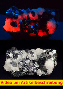 7936 Calcit UV Galenit Sphalerit ca 5*4*3 cm Naica Mexico 1987 MOVIE