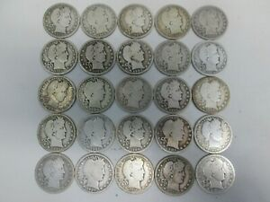 MIXED LOT OF 25 US SILVER BARBER QUARTERS- 1900'S