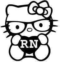 "Hello Kitty Decal Nurse RN LPN APRN 4"" vinyl car window sticker13 COLORS"