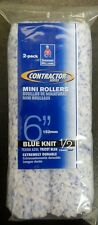 """Sherwin Williams Contractor Series Blue Knit 1/2"""" Nap 6"""" Mini Rollers QTY 2"""