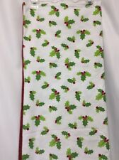 "Table cloth Christmas white green holly leaves whimsical red trim 60""x104"" WOW!"