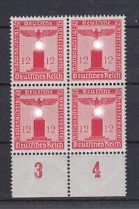 Deutsches Reich Dienst D 161 ohne WZ 4er Block 12 Pf mit Unterrand ** /1