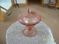 Crystal Etched Vtg Elegant Pink Depression Covered Compote Candy Dish