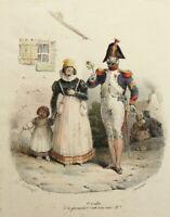 F.VILLAIN(19.Jh) Französischer Grenadier mit Rose bei Dame mit Kind, Kol. Lith.