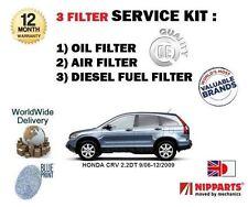 pour Honda CRV 2.2DT N22A2 2006- > CARBURANT air huile 3 Filtre Kit Entretien
