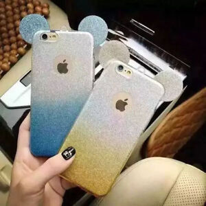 NEW Bling Glitter EAR MICKEY Soft Gel Phone Cover Case For iPhone 5 6 6 Plus 7