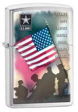 Zippo 0727 US Army Soldiers and Flag Brushed Chrome Finish Full Size Lighter