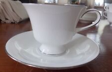 1~WEDGWOOD~SILVER ERMINE~FOOTED CUP AND SAUCER SET (S) EXCELLENT!